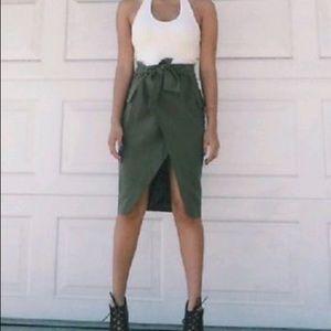 Whyte Eyelash Faux Wrap Envelope Skirt Green S XS